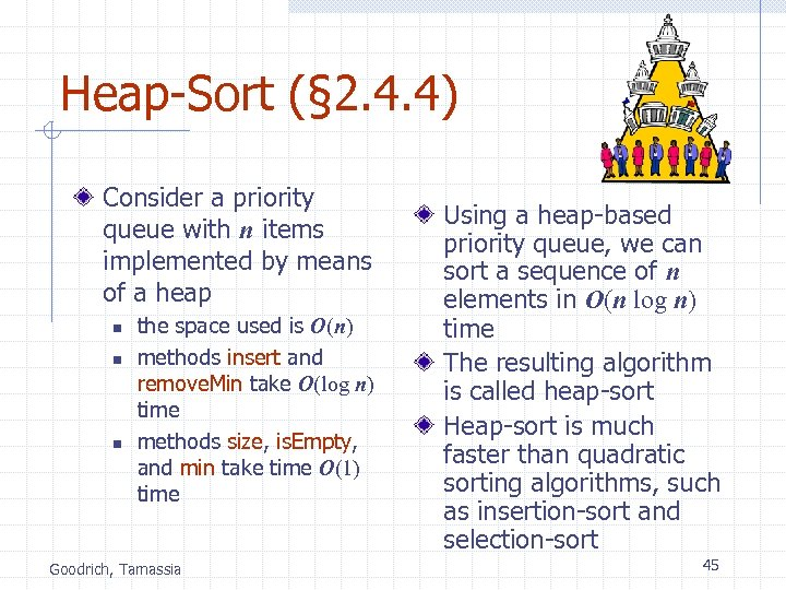 Heap-Sort (§ 2. 4. 4) Consider a priority queue with n items implemented by