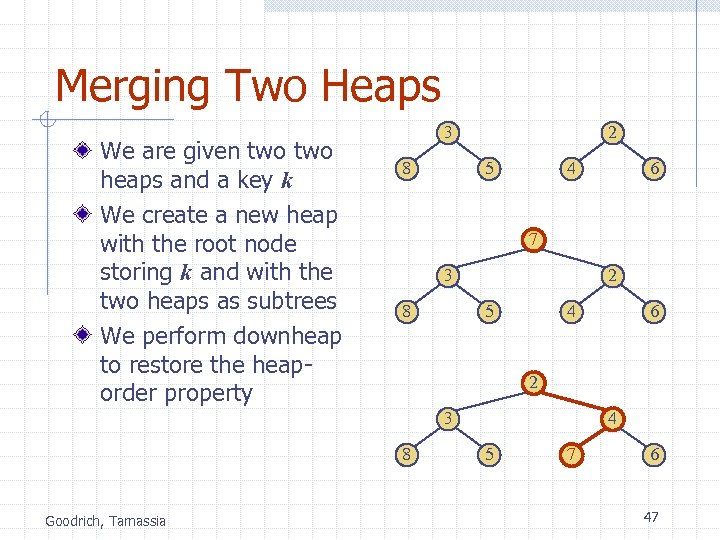 Merging Two Heaps We are given two heaps and a key k We create