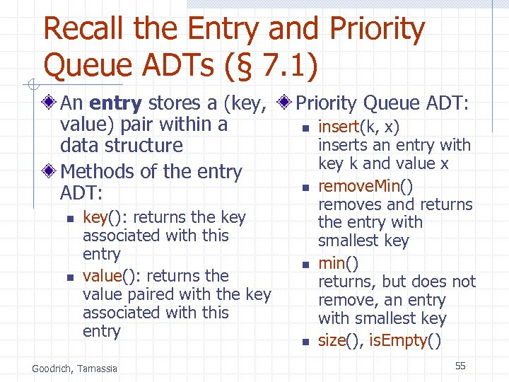 Recall the Entry and Priority Queue ADTs (§ 7. 1) An entry stores a
