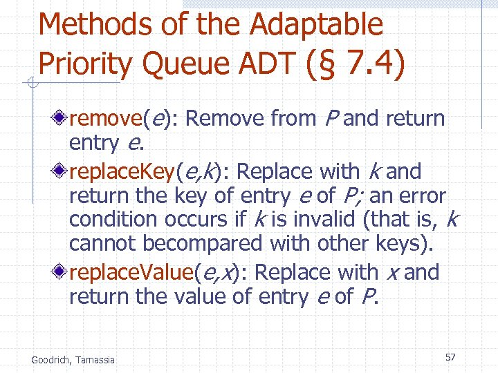 Methods of the Adaptable Priority Queue ADT (§ 7. 4) remove(e): Remove from P