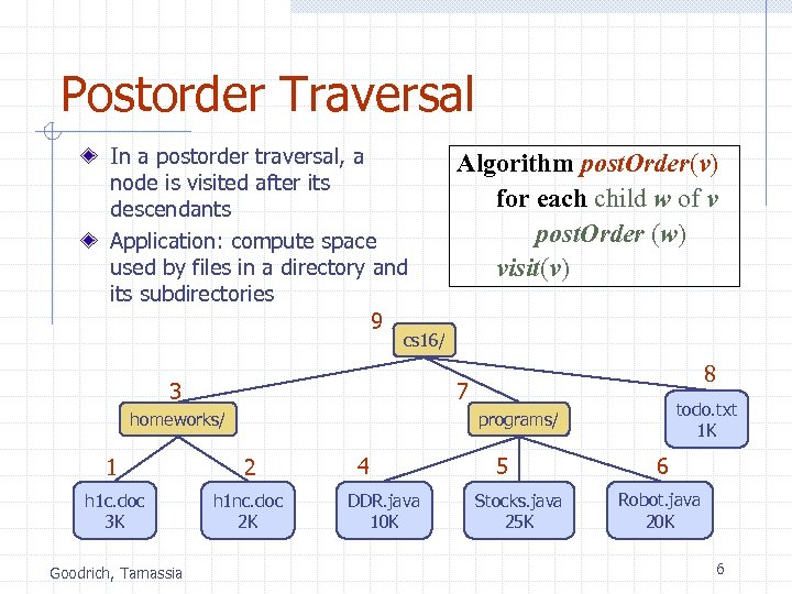 Postorder Traversal In a postorder traversal, a node is visited after its descendants Application: