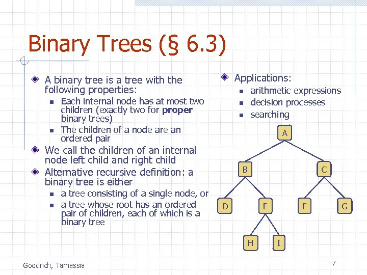 Binary Trees (§ 6. 3) Applications: A binary tree is a tree with the