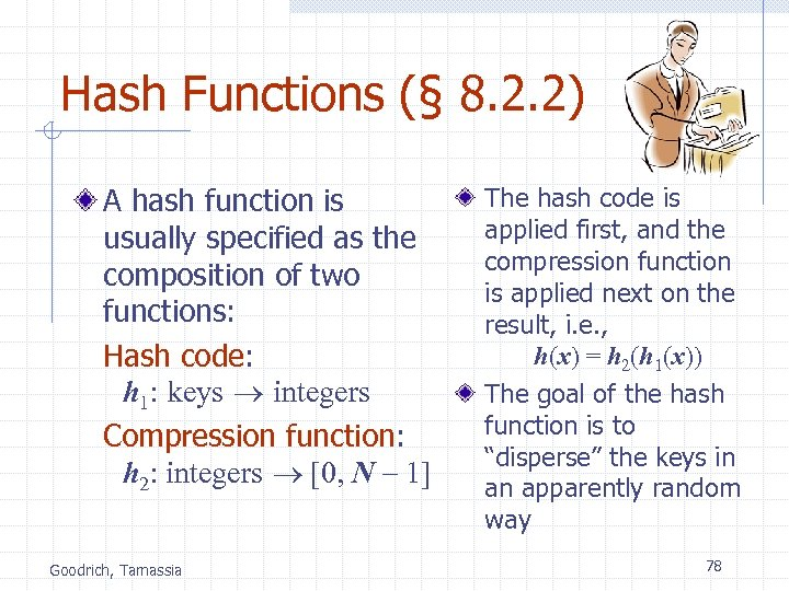 Hash Functions (§ 8. 2. 2) A hash function is usually specified as the