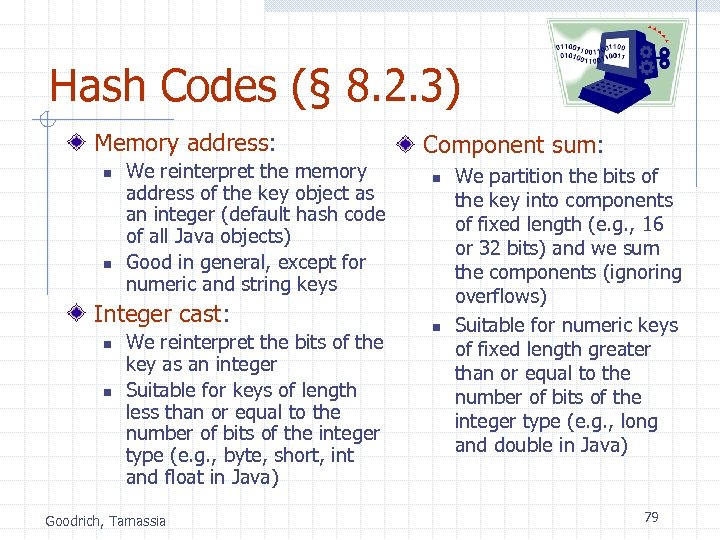 Hash Codes (§ 8. 2. 3) Memory address: n n We reinterpret the memory