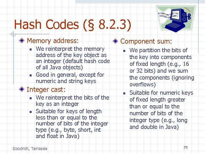 Hash Codes (§ 8. 2. 3) Memory address: n n We reinterpret the memory
