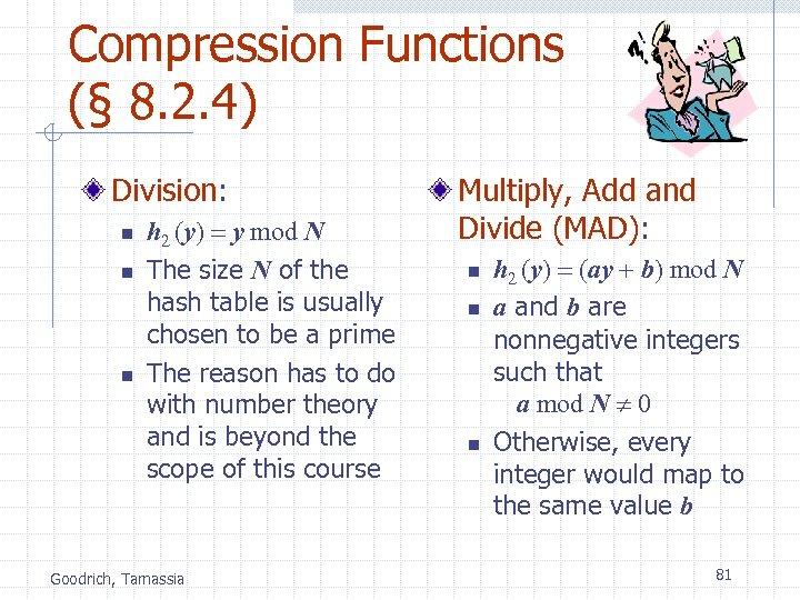 Compression Functions (§ 8. 2. 4) Division: n n n h 2 (y) =
