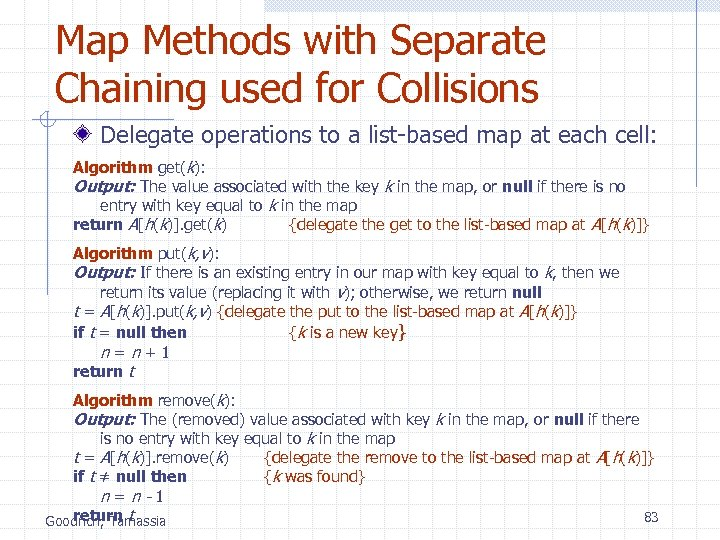 Map Methods with Separate Chaining used for Collisions Delegate operations to a list-based map