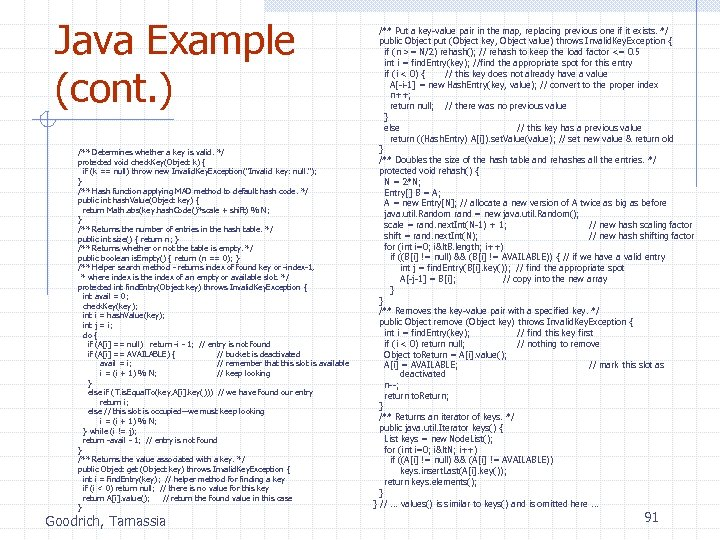 Java Example (cont. ) /** Determines whether a key is valid. */ protected void