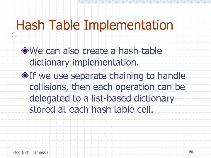 Hash Table Implementation We can also create a hash-table dictionary implementation. If we use