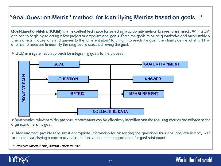 """""""Goal-Question-Metric"""" method for Identifying Metrics based on goals…* Goal-Question-Metric (GQM) is an excellent technique"""
