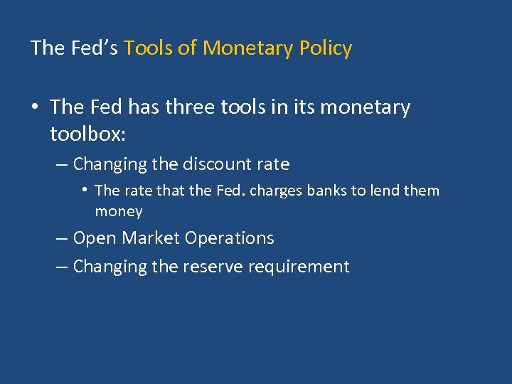 the purpose of the federal reserve bank the structure and tools used to perform its monetary policy Open market operations (omo) is the most flexible and most common tool that the fed uses to implement and control monetary policy in the united states however, the discount rate and reserve.