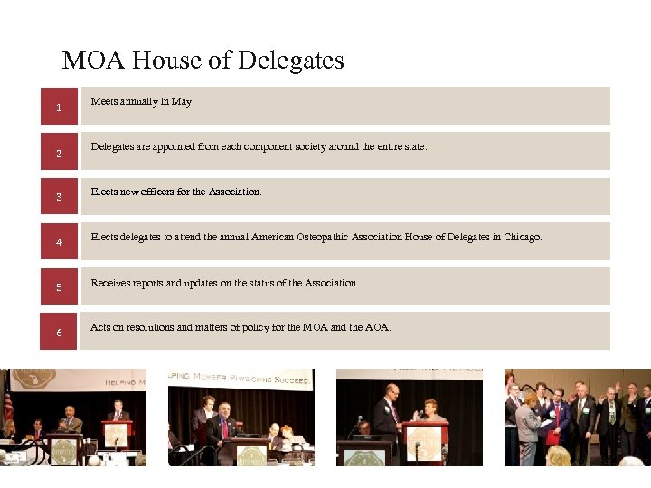 MOA House of Delegates 1 2 Meets annually in May. Delegates are appointed from