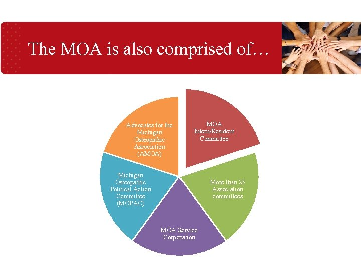 The MOA is also comprised of… Advocates for the Michigan Osteopathic Association (AMOA) MOA