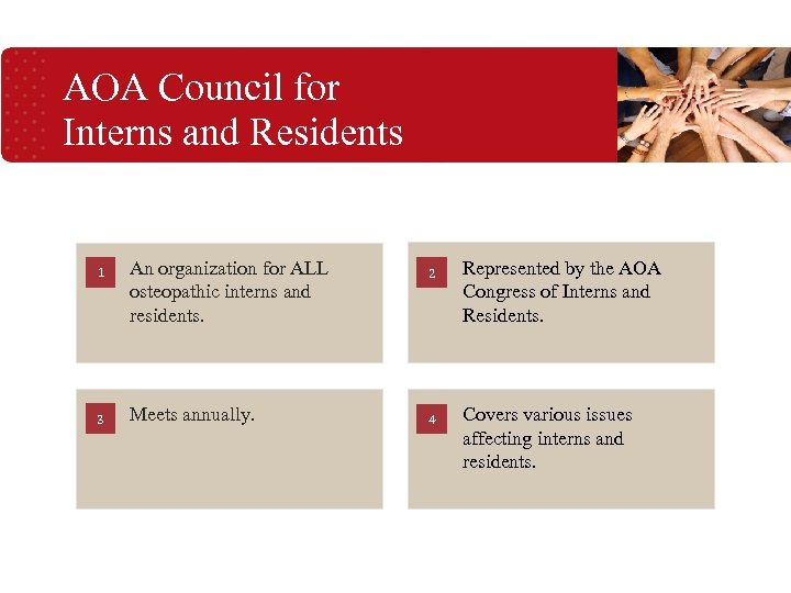 AOA Council for Interns and Residents 1 3 An organization for ALL osteopathic interns