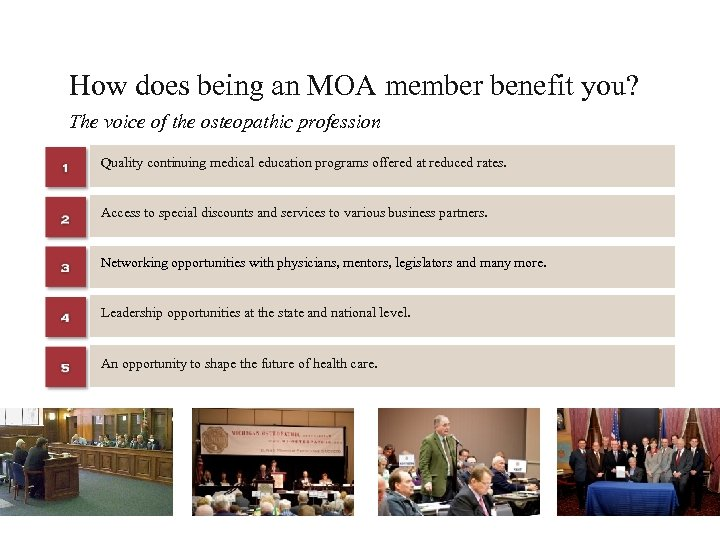 How does being an MOA member benefit you? The voice of the osteopathic profession