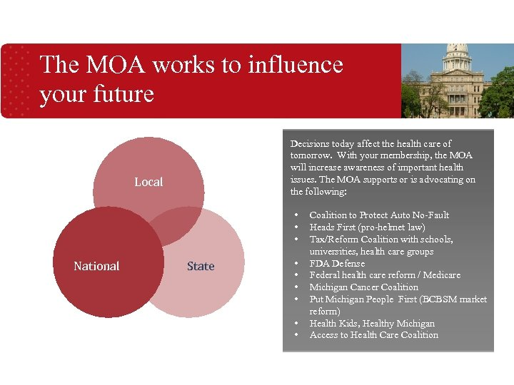 The MOA works to influence your future Decisions today affect the health care of