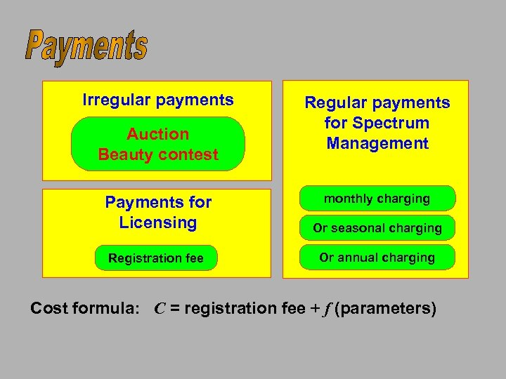 Irregular payments Auction Beauty contest Regular payments for Spectrum Management monthly charging Payments for
