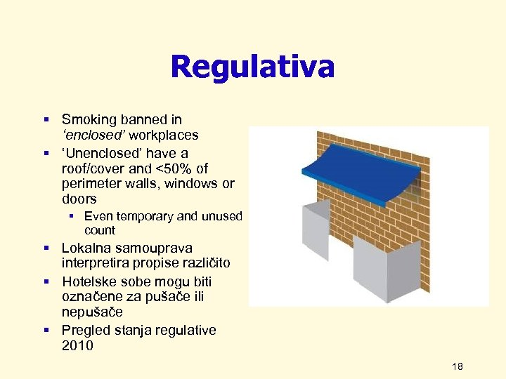 Regulativa § Smoking banned in 'enclosed' workplaces § 'Unenclosed' have a roof/cover and <50%