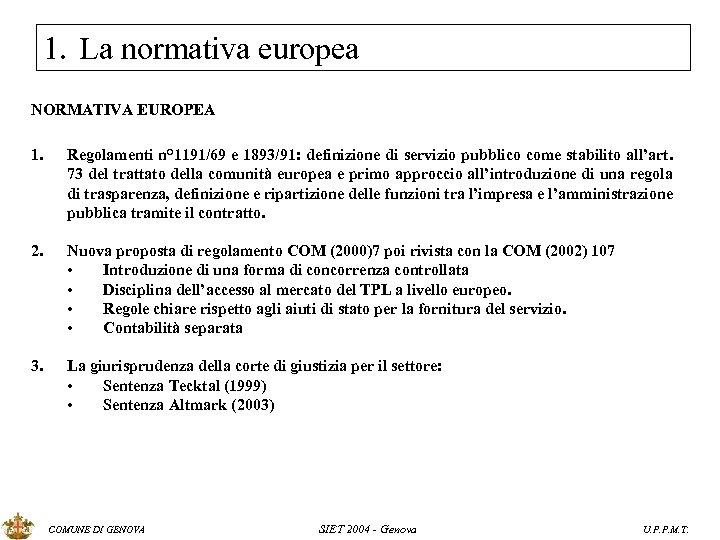 1. La normativa europea NORMATIVA EUROPEA 1. Regolamenti n° 1191/69 e 1893/91: definizione di