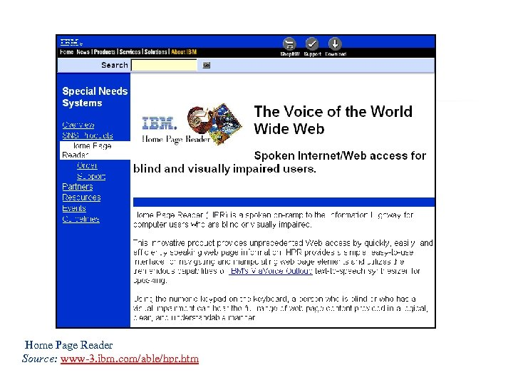 Home Page Reader Source: www-3. ibm. com/able/hpr. htm