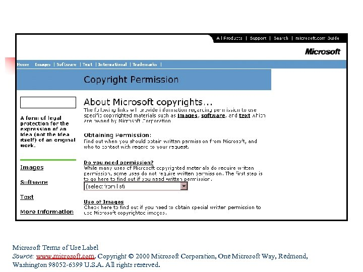 Microsoft Terms of Use Label Source: www. microsoft. com. Copyright © 2000 Microsoft Corporation,