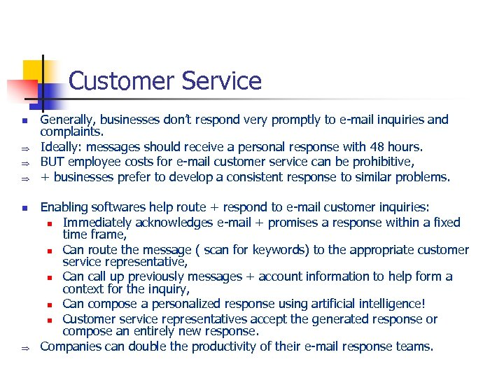 Customer Service n Þ Þ Þ n Þ Generally, businesses don't respond very promptly