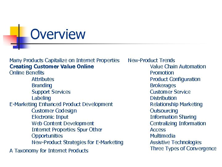 Overview Many Products Capitalize on Internet Properties New-Product Trends Creating Customer Value Online Value