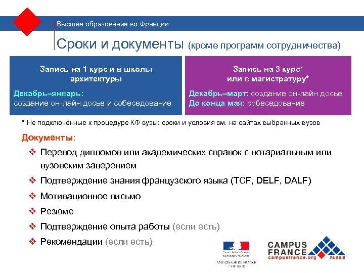 Высшее образование во Франции Сроки и документы (кроме программ сотрудничества) Запись на 1 курс