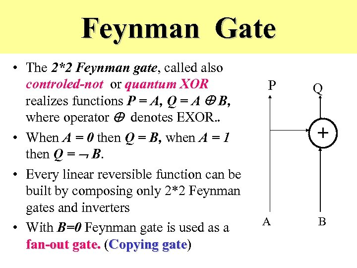 Feynman Gate • The 2*2 Feynman gate, called also controled-not or quantum XOR realizes
