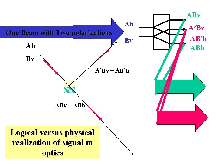 ABv Ah One Beam with Two polarizations Ah Bv Bv A'Bv + AB'h ABv