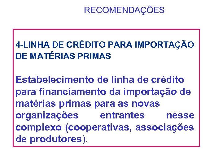RECOMENDAÇÕES 4 -LINHA DE CRÉDITO PARA IMPORTAÇÃO DE MATÉRIAS PRIMAS Estabelecimento de linha de