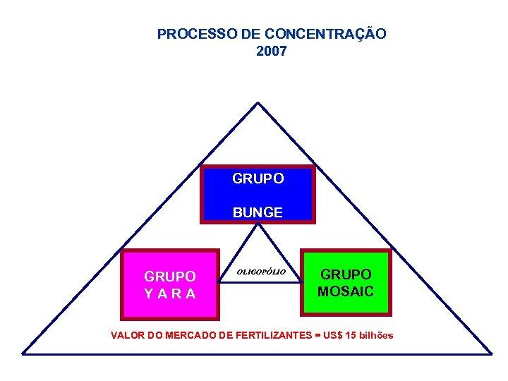 PROCESSO DE CONCENTRAÇÃO 2007 GRUPO BUNGE GRUPO Y A R A OLIGOPÓLIO GRUPO MOSAIC