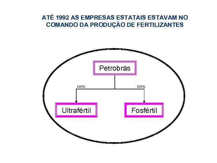 ATÉ 1992 AS EMPRESAS ESTATAIS ESTAVAM NO COMANDO DA PRODUÇÃO DE FERTILIZANTES Petrobrás 100%