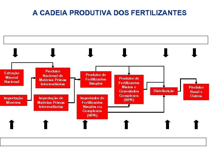 A CADEIA PRODUTIVA DOS FERTILIZANTES Ambiente Organizacional (Anda, BB, Embrapa, Portos, Logística, ) Extração