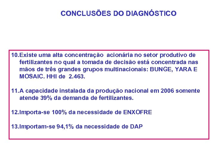 CONCLUSÕES DO DIAGNÓSTICO 10. Existe uma alta concentração acionária no setor produtivo de fertilizantes