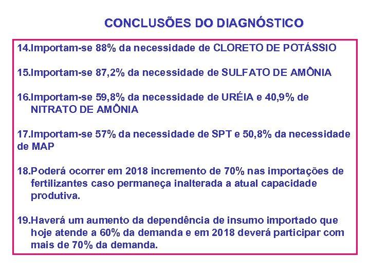 CONCLUSÕES DO DIAGNÓSTICO 14. Importam-se 88% da necessidade de CLORETO DE POTÁSSIO 15. Importam-se