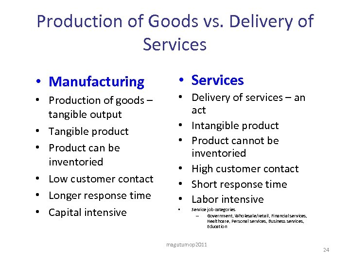 Production of Goods vs. Delivery of Services • Manufacturing • Production of goods –