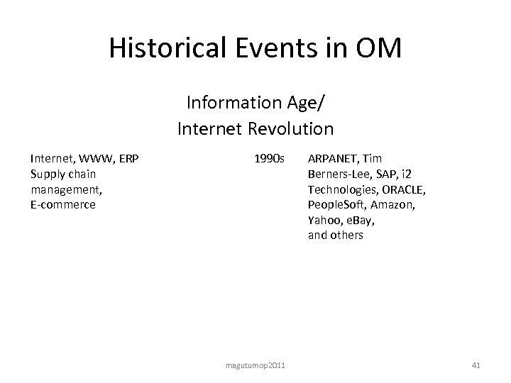 Historical Events in OM Information Age/ Internet Revolution Internet, WWW, ERP Supply chain management,
