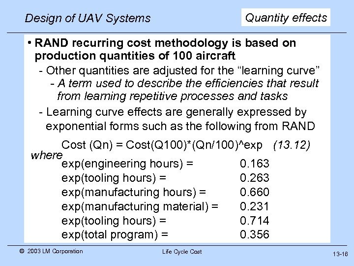 Quantity effects Design of UAV Systems • RAND recurring cost methodology is based on