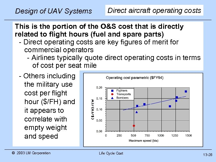Design of UAV Systems Direct aircraft operating costs This is the portion of the