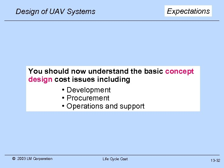 Expectations Design of UAV Systems You should now understand the basic concept design cost