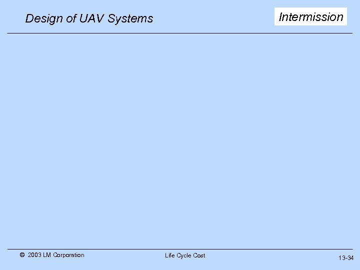 Intermission Design of UAV Systems © 2003 LM Corporation Life Cycle Cost 13 -34
