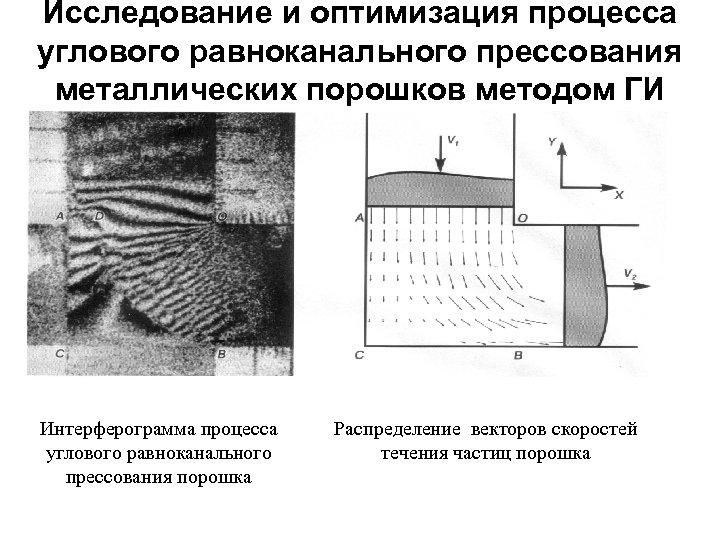 Исследование и оптимизация процесса углового равноканального прессования металлических порошков методом ГИ Интерферограмма процесса углового