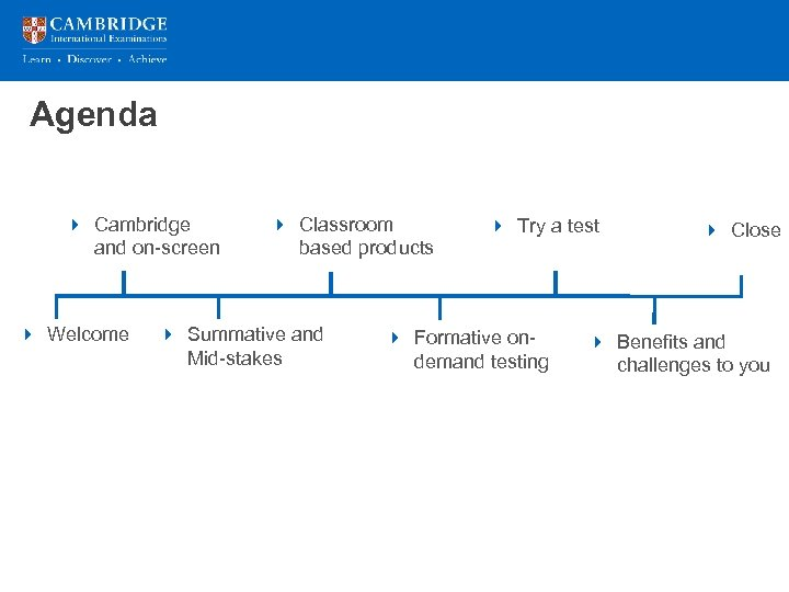 Agenda Presentation title over 2 lines 4 Cambridge and on-screen 4 Welcome 4 Classroom