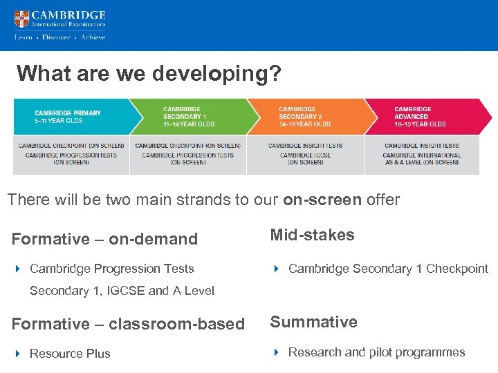 What are we developing? There will be two main strands to our on-screen offer