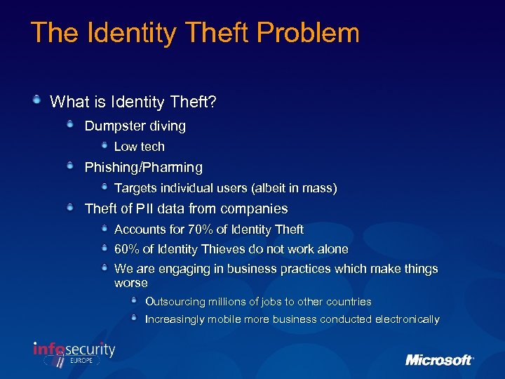 The Identity Theft Problem What is Identity Theft? Dumpster diving Low tech Phishing/Pharming Targets