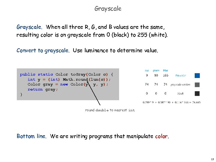 Grayscale. When all three R, G, and B values are the same, resulting color