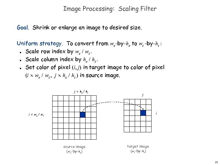 Image Processing: Scaling Filter Goal. Shrink or enlarge an image to desired size. Uniform