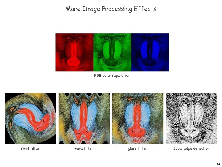 More Image Processing Effects RGB color separation swirl filter wave filter glass filter Sobel