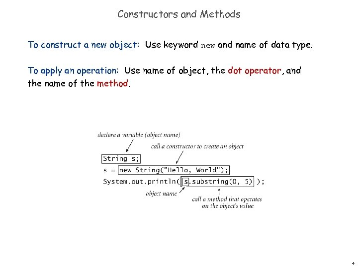 Constructors and Methods To construct a new object: Use keyword new and name of